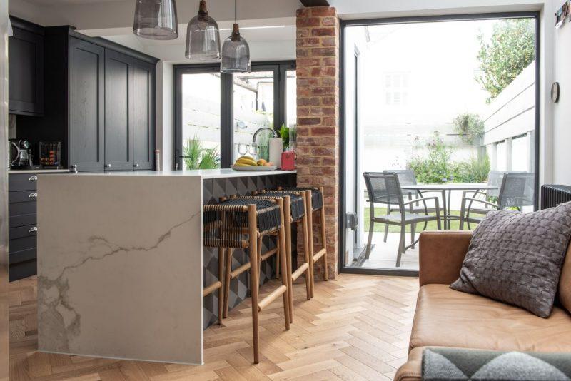 herringbone floors in kitchen