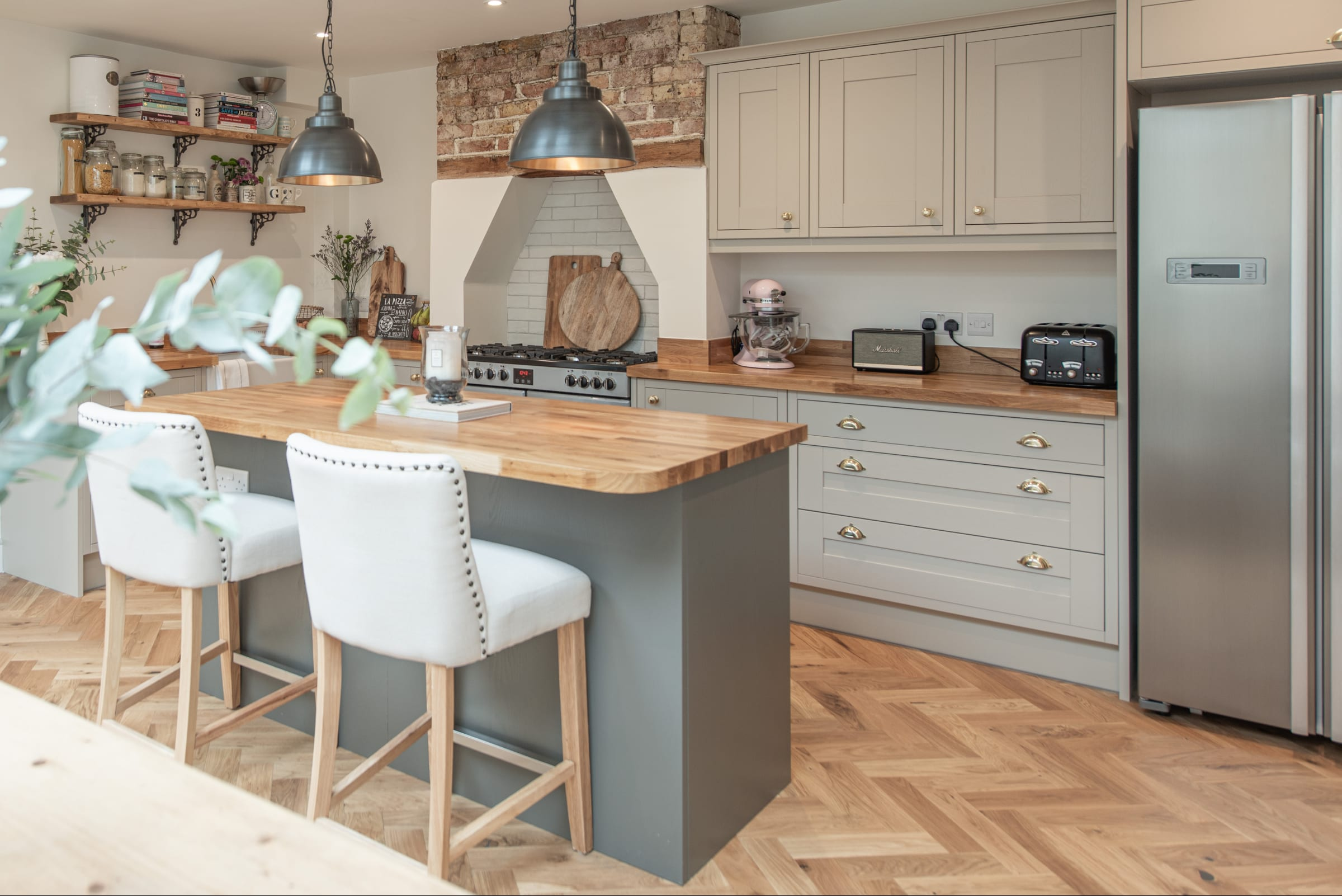 farnborough kitchen with herringbone wood floors