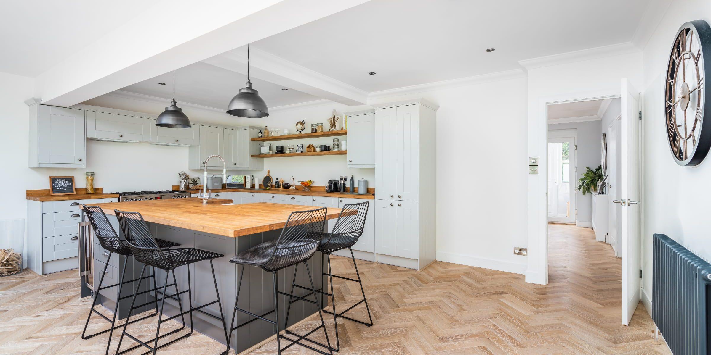 light herringbone wood floors in kitchen design