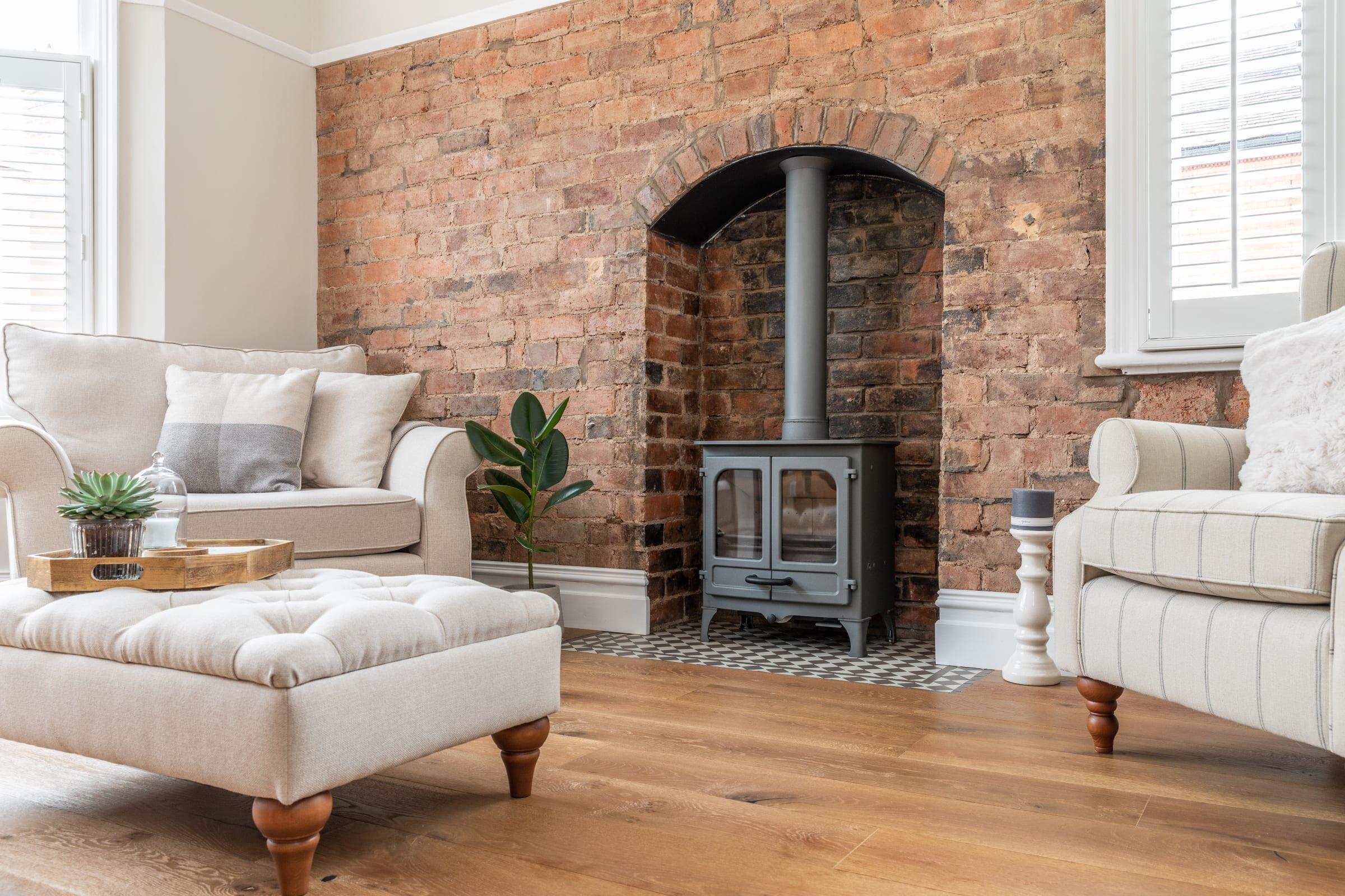 log burner and exposed brick