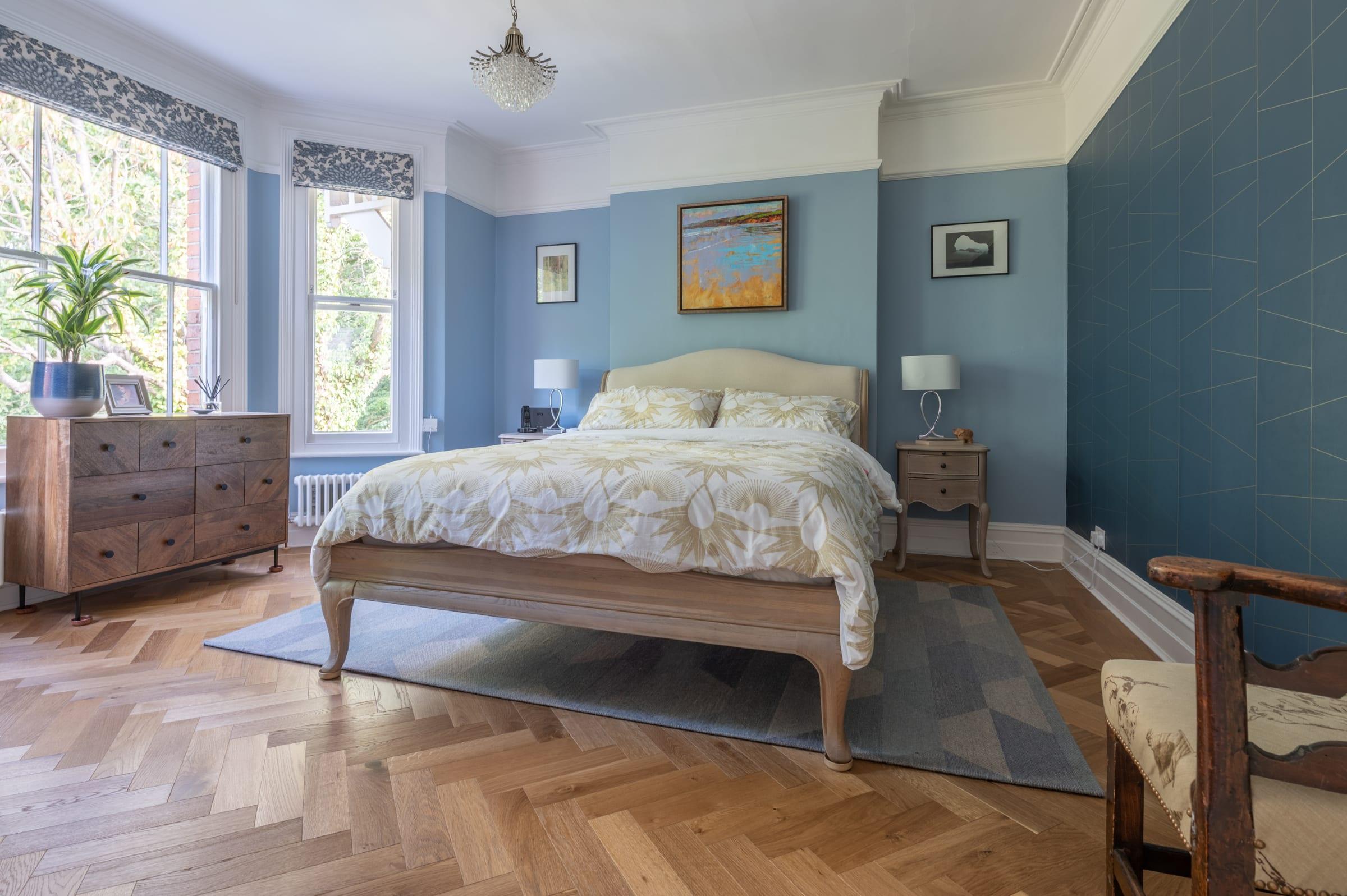 Woking bedroom with Zigzag Smoked Oak