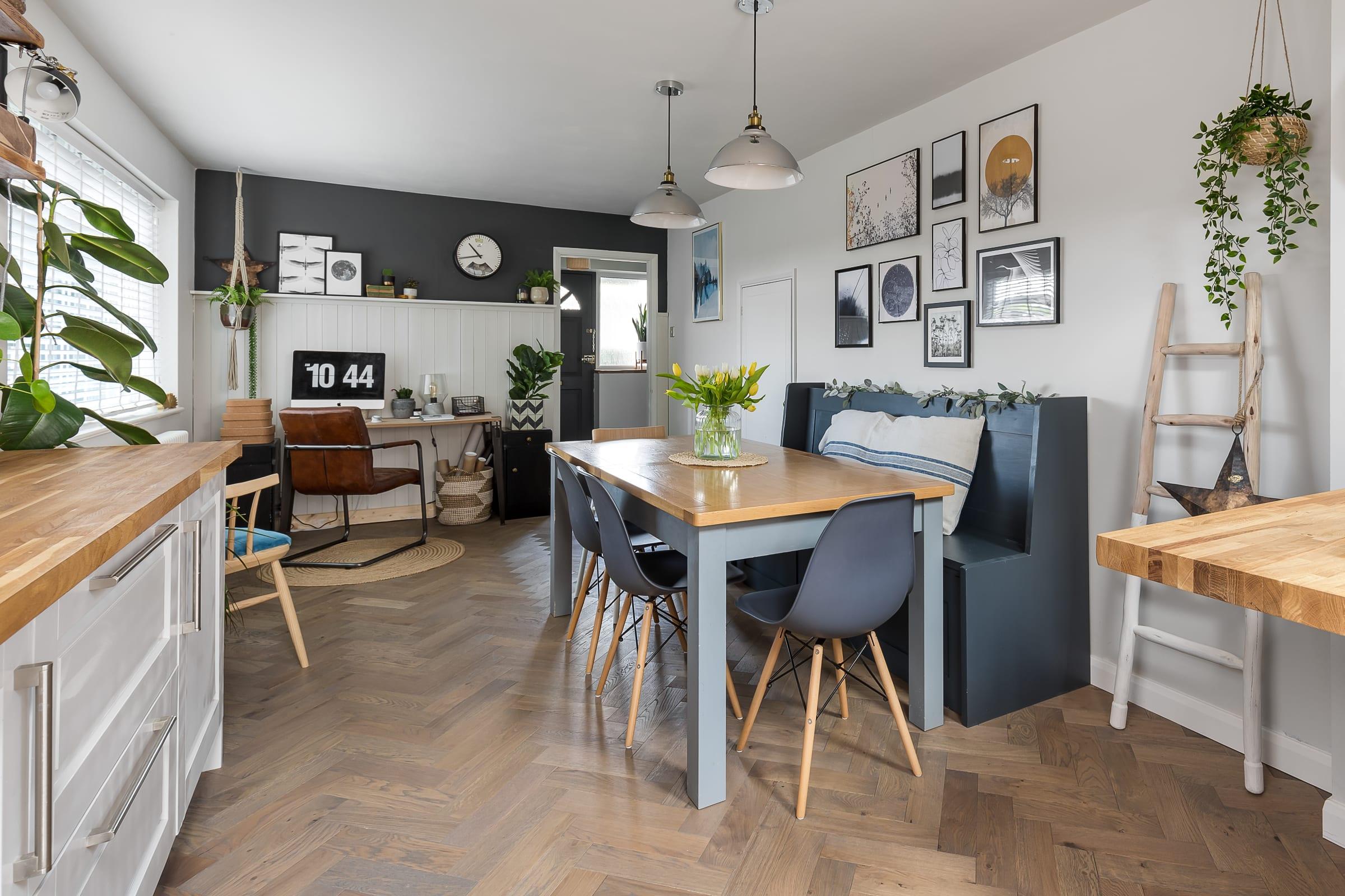 desk design in kitchen spaces