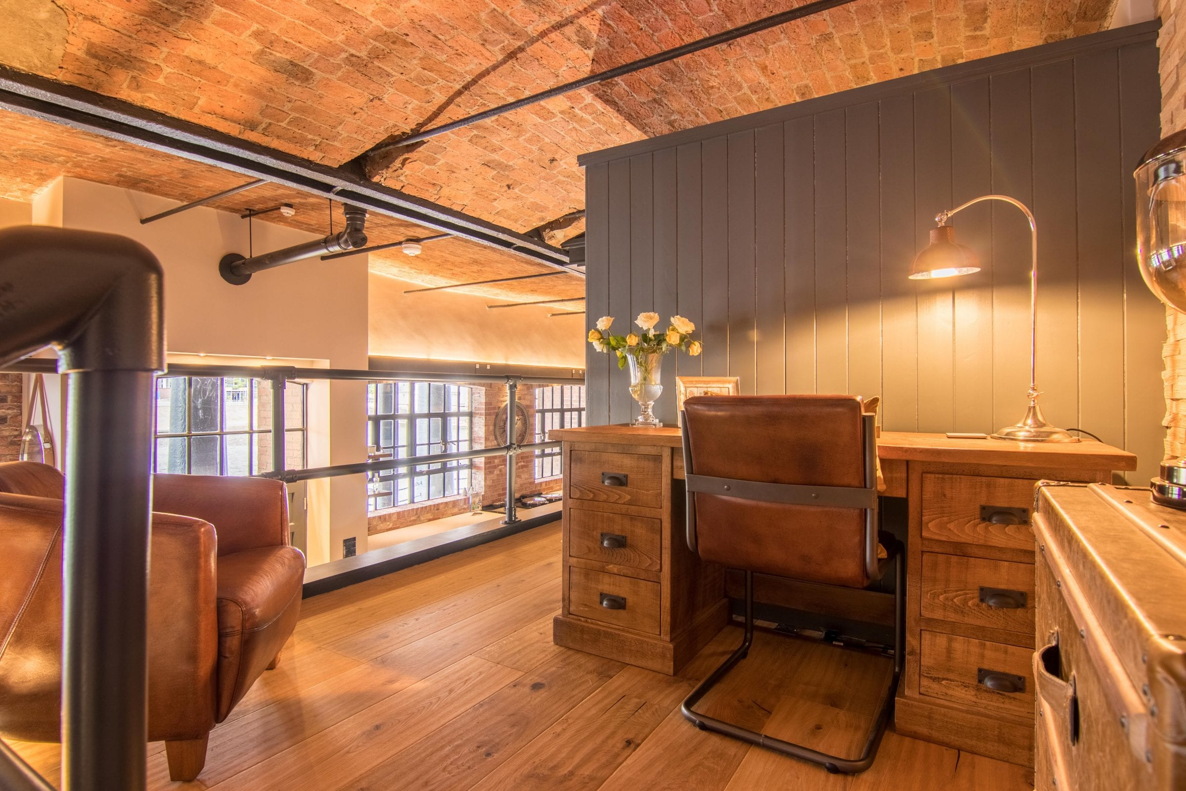 home office design with real wood floors
