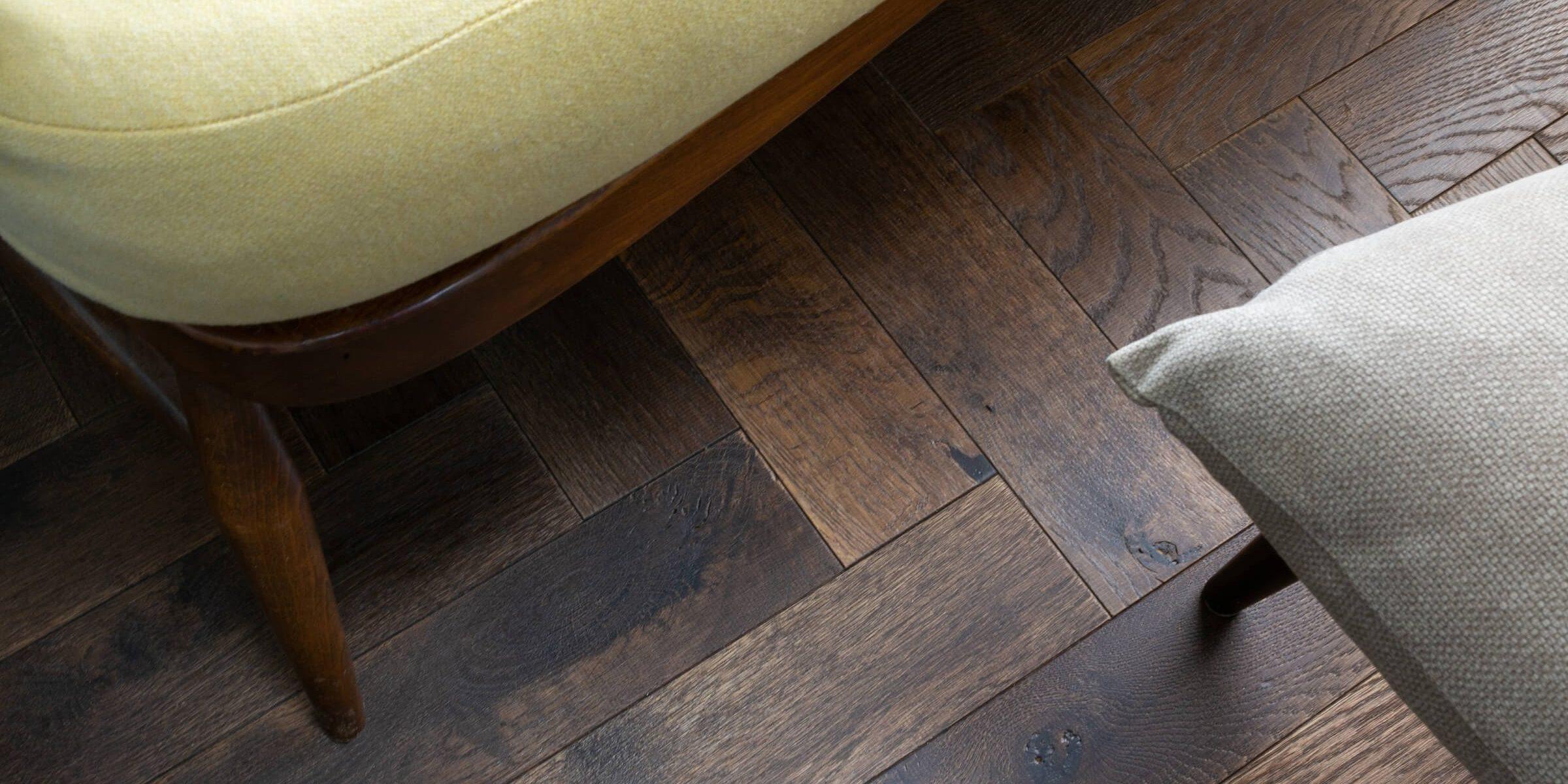 dark brown herringbone floors