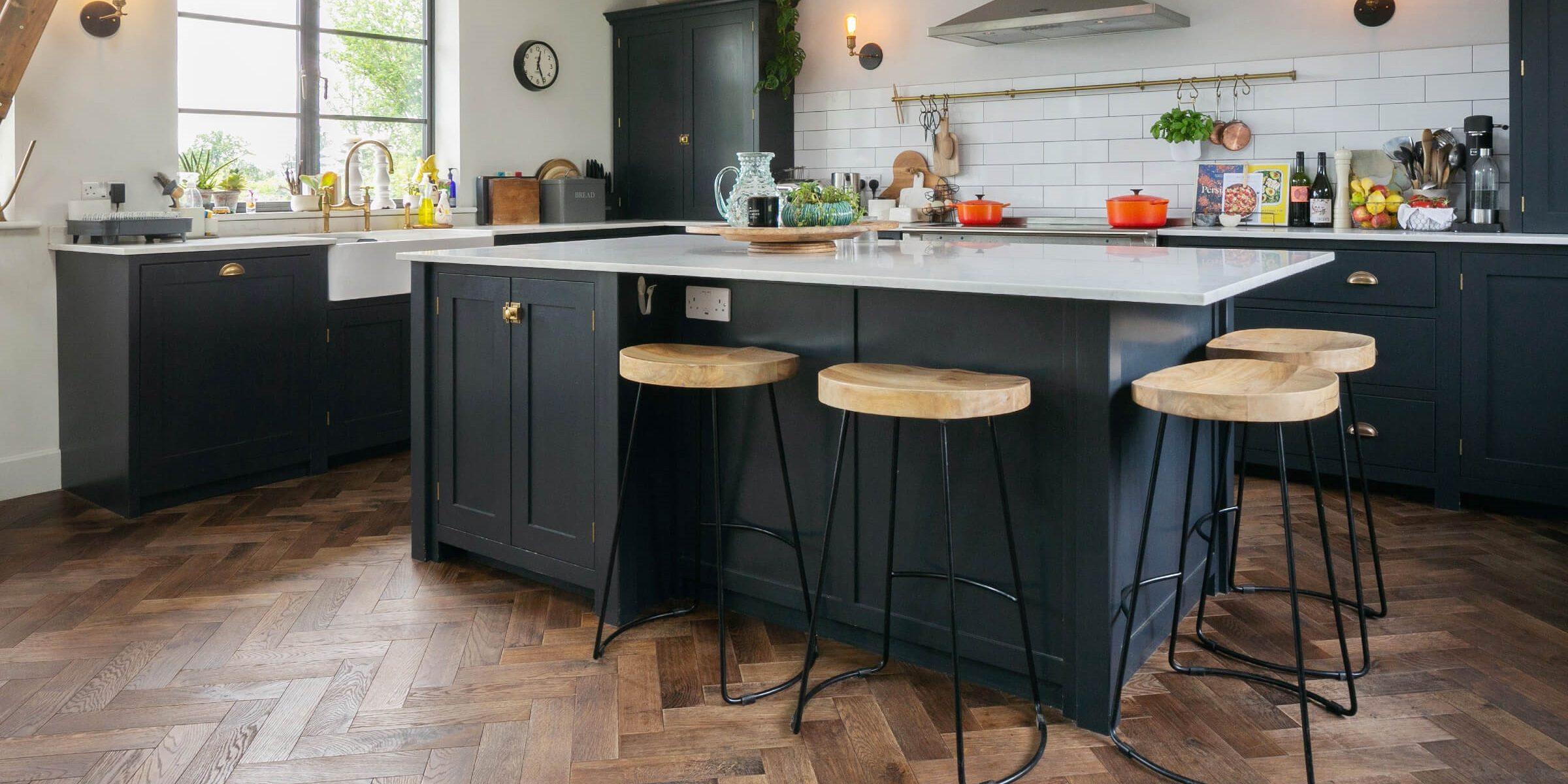devol kitchen with herringbone floors