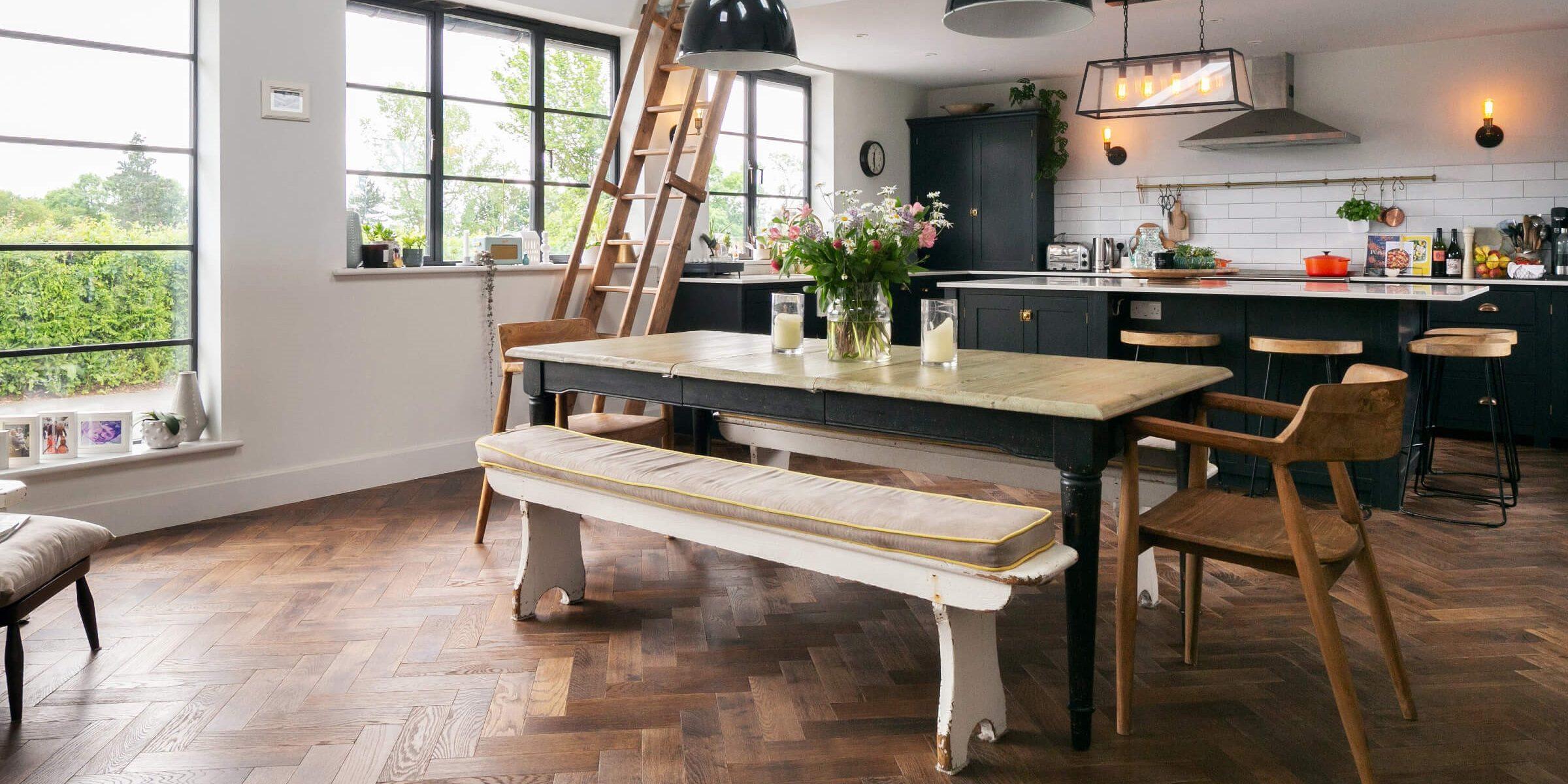 rustic kitchen design with parquet flooing